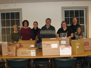 photo of Devens area employees collecting items for the homeless community